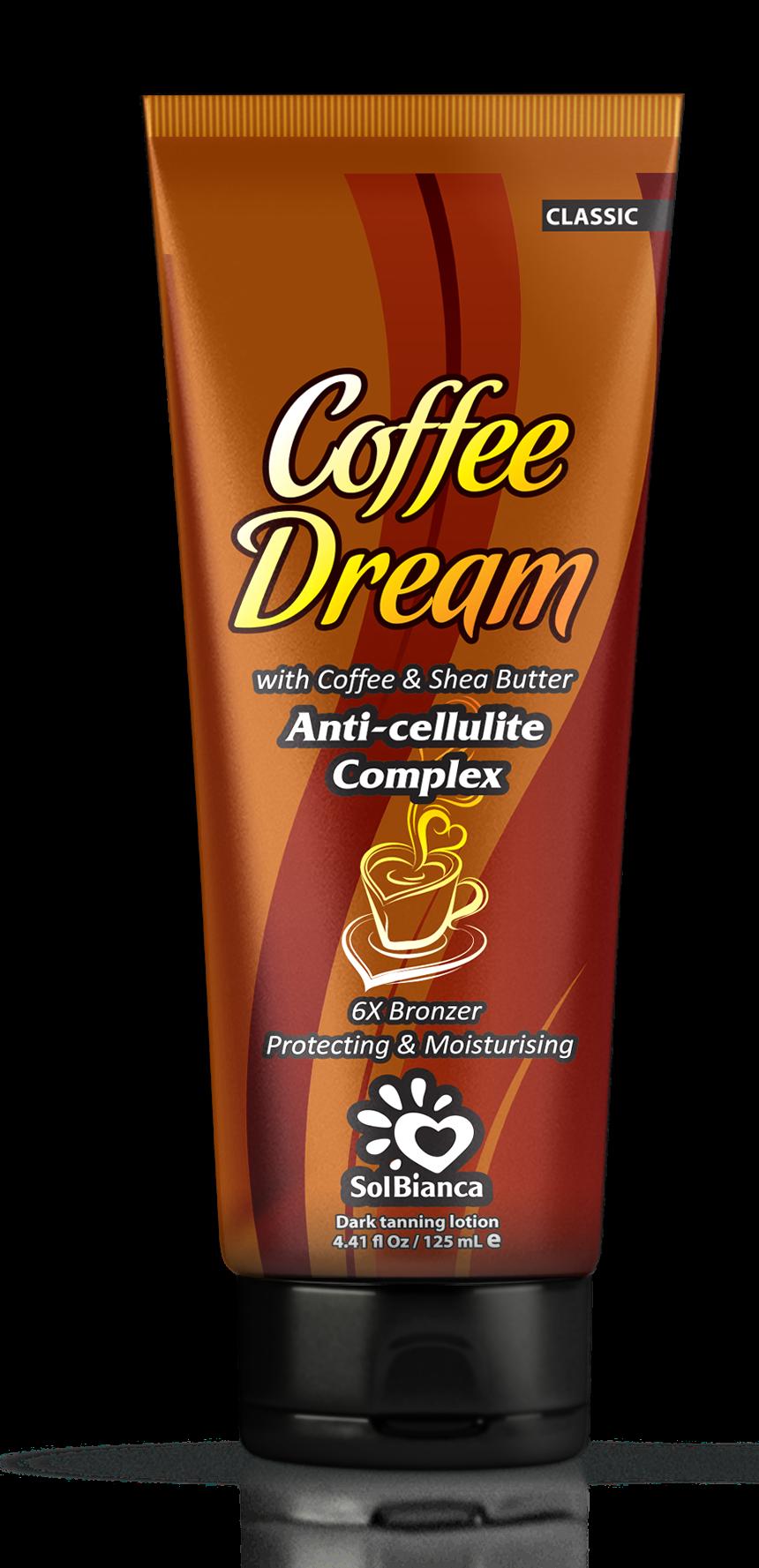 SOLBIANCA Крем для загара в солярии  Coffee Dream  с маслом кофе, маслом Ши и бронзаторами 125 млКремы<br>Роскошный крем с маслом кофе и маслом ши, предназначен для получения стойкого и насыщенного оттенка загара, а также обладает превосходным разглаживающим эффектом и антицеллюлитным воздействием. Темный загар и упругая кожа! Активные ингредиенты: маслом кофе и маслом ши. Состав: (INCI) Aqua, Cetearyl Alcohol, Glycerin, Propylene Glycol, Paraffinum Liquidum, Isopropyl Palmitate, Hydrogenated Palm Oil, Dihydroxyacetone, Dimethicone, Stearyl Alcohol, Ceteareth   6, PEG   100 Stearate, PEG   7 Glyceryl Cocoate, Cyclomethicone, Aloe Barbadensis Extract, Mannan, Pinus Sibirica Seed Oil, Phenoxyethanol, Methylparaben (and) Ethylparaben (and) Propylparaben, Glyceryl Stearate, Ceteareth   20, Ceteareth   12, Cetyl Palmitate,Coffea Arabica Seed Oil, Butyrospermum Parkii Oil, Panthenol, Persea Gratissima Oil, PEG   40 Hydrogenated Castor Oil, Сoffea Arabica, Hippophae Rhamnoides Extract, Lactic Acid, Methylchloroisothiazolinone, Methylisothiazolinone, Parfume, Caramel, CI 20285, CI 15980, Benzyl Benzoate, Coumarin. Способ применения: аккуратными массажными движениями равномерно распределить содержимое по сухой чистой коже. Аккуратно втереть.<br><br>Назначение: Целлюлит