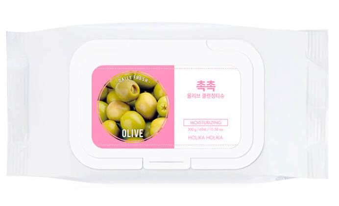 HOLIKA HOLIKA Салфетки очищающие для удаления макияжа, с оливой & Дэйли Фреш&  / Daily Fresh Olive Cleansing Tissue 60шт -  Салфетки