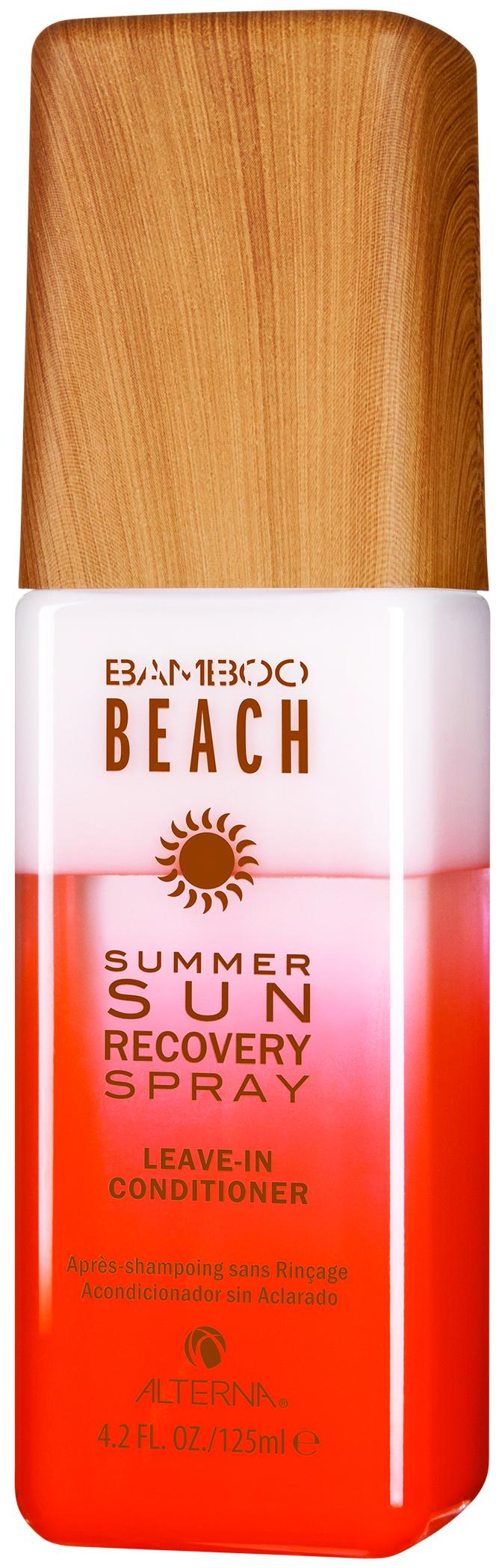 ALTERNA Спрей восстанавливающий для волос / Bamboo Beach Summer Sun Recovery Spray 125млСпреи<br>Summer Sun Recovery Spray Восстанавливающий спрей для волос: увлажняющий несмываемый кондиционер, оздоравливающий высушенные солнцем волосы и борющийся с условиями&amp;nbsp;окружающей среды, которые оказывают негативное воздействие на волосы в течение лета: солнце, морская вода и хлорированная вода в бассейнах. Способ применения: хорошо взболтать перед использованием. Нанесите на подсушенные полотенцем волосы. Не смывать. Стиль как обычно.<br><br>Вид средства для волос: Восстанавливающий<br>Типы волос: Для всех типов