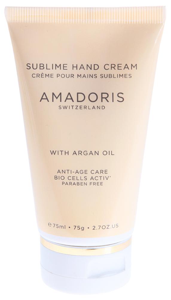 AMADORIS Крем на клеточном уровне для рук 75млКремы<br>Крем клеточного действия с органическим маслом из семян кунжута и активными стволовыми клетками критмума морского для ухода за сухой и чувствительной зрелой кожей. Не содержит парааминобензойных кислот. Отлично увлажняет и уменьшает сухость кожи рук. Оказывает длительное увлажняющее действие. Защищает от вредного солнечного излучения (УФА и УФВ фильтры), помогает задержать физиологический процесс старения кожи.  Активные ингредиенты: Масло Арганы с высоким содержанием стеролов, Активные растительные клетки, полученные из дамасской розы, Экстракт алоэ вера, Экстракт цветков ромашки лекарственной, Экстракт яблока, Диоксид титана. Способ применения: Нанести крем на кожу рук, мягко втереть.<br><br>Назначение: Старение