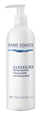 SANS SOUCIS Молочко очищающее / Cleansing Milk 190млМолочко<br>Нежное молочко бережно очищает кожу от загрязнений и остатков макияжа. Оказывает увлажняющее и разглаживающее действие. Устраняет покраснения, зуд и дискомфорт кожи. Рекомендовано: для сухой, нормальной и чувствительной кожи. Результат: чистая, увлажненная, гладкая кожа, без покраснений и зуда. Активные ингредиенты: термальная вода, RefreshCare Complex (экстракт василька, пантенол), масло косточек абрикоса/ Способ применения: утром и вечером наносить на кожу лица, шеи и декольте (можно использовать для демакияжа глаз и губ), аккуратно промассировать кожу по массажным линиям и тщательно смыть водой<br><br>Объем: 190 мл<br>Вид средства для лица: Разглаживающий