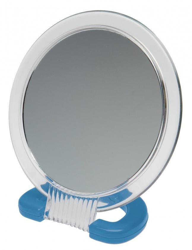DEWAL BEAUTY Зеркало настольное, в прозрачной оправе, на пластиковой подставке синего цвета 230x154 мм -  Зеркала