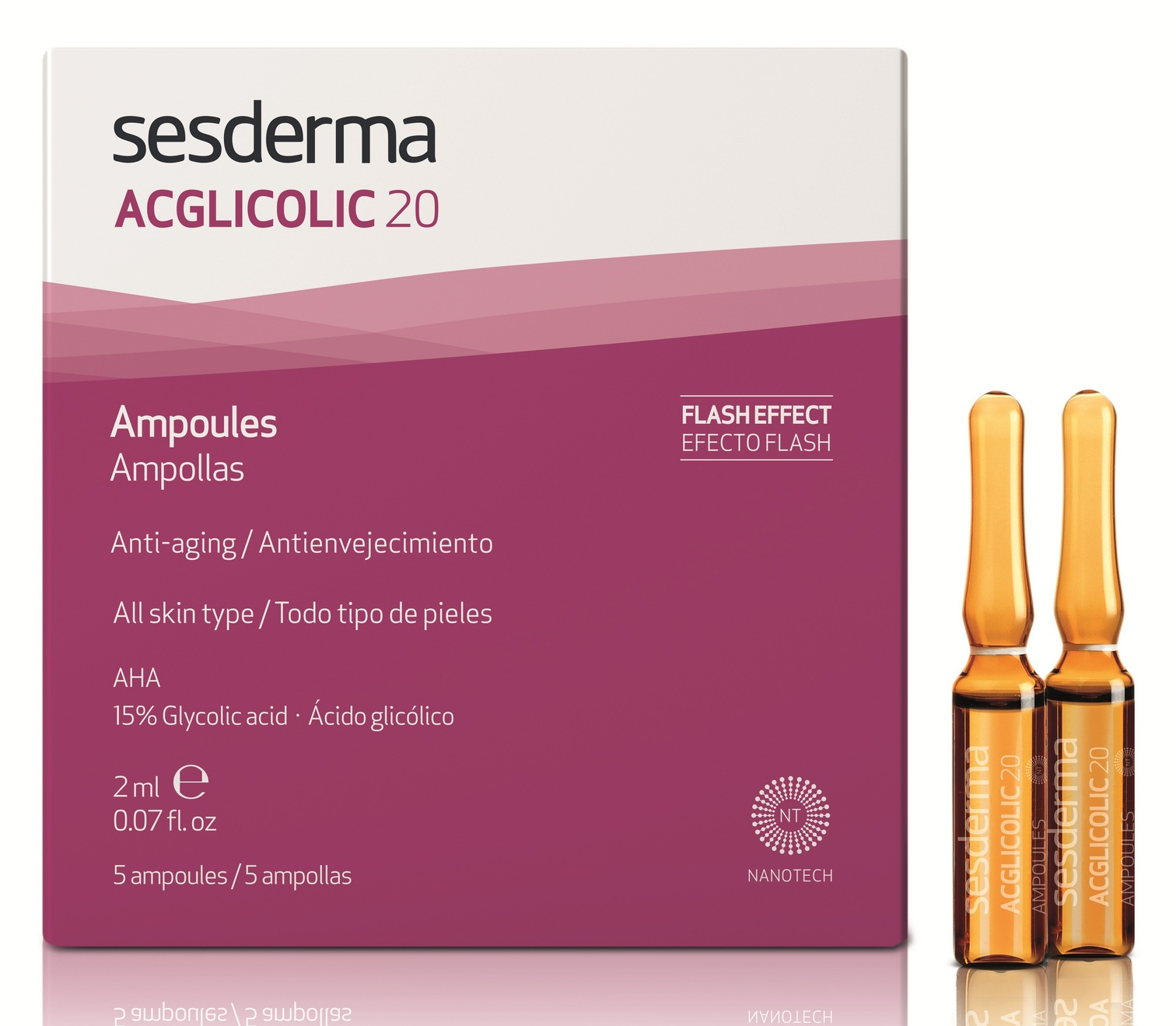 SESDERMA Средство в ампулах (с гликолевой кислотой 15%) / ACGLICOLIC 20 5*2 мл