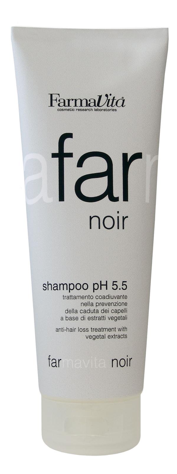 FARMAVITA Шампунь специальный д/мужчин Farmavita Noir Shampoo ph 5.5 / FARMAVITA NOIR LINE 250 млВолосы<br>Специальный шампунь, предотвращающий выпадение волос, на базе растительных экстрактов. Разработан специально для мужчин. Предупреждает выпадение волос, вызванное гормональным сбоем, стрессом, воздействием окружающей среды, дисбалансом, воспалением кожи головы и сменой сезонов года. Подходит для всех типов кожи. Активные ингредиенты: содержит 20 растительных экстрактов Средиземноморья. Розмарин, горная арника, шалфей и зверобой, входящие в состав FARMAVITA NOIR улучшают состояние кожи, которое было нарушено усиленной работой сальных желез и образованием перхоти, делают волосы здоровыми и блестящими. Экстракт перечной мяты дает приятное и продолжительное ощущение свежести. Способ применения: нанести на мокрые волосы, вмассировать. Промыть водой. При необходимости повторить. Для интенсивного воздействия использовать с  Специальным лосьоном против выпадения волос для мужчин . Пожходит для всех типов кожи головы.<br><br>Объем: 250 мл<br>Пол: Мужской<br>Назначение: Выпадение