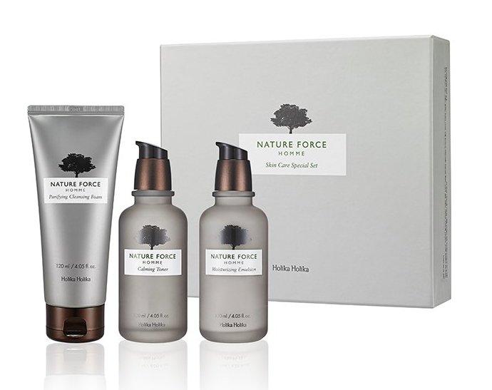 HOLIKA HOLIKA Набор очищающих средств для мужчин Нэйча Форс / Nature Force Homme Skin Care Set 3*120мл