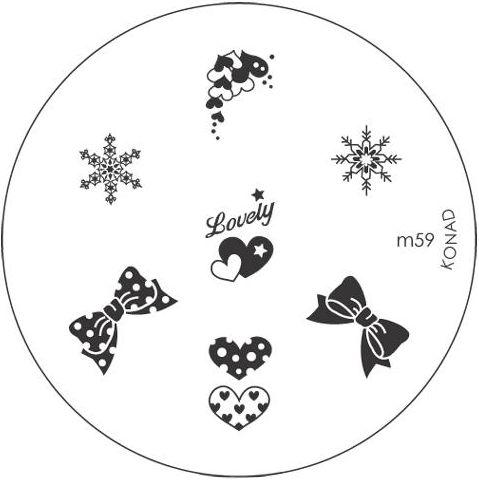 KONAD Форма печатная (диск с рисунками) / image plate M59 10грСтемпинг<br>Диск для стемпинга Конад М59 с нежными снежинками, бантиками и сердечками. Несколько видов изображений, с помощью которых вы сможете создать великолепные рисунки на ногтях, которые очень сложно создать вручную. Активные ингредиенты: сталь. Способ применения: нанесите специальный лак&amp;nbsp;на рисунок, снимите излишки скрайпером, перенесите рисунок сначала на штампик, а затем на ноготь и Ваш дизайн готов! Не переставайте удивлять себя и близких красотой и оригинальностью своего маникюра!<br>