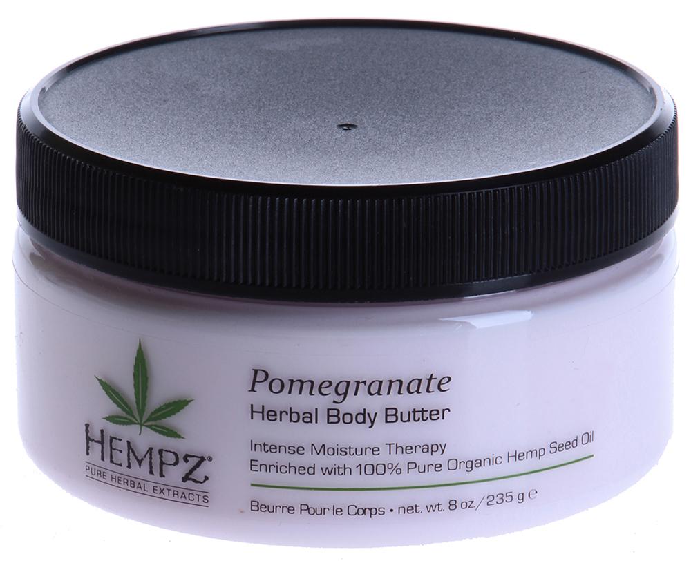 HEMPZ Крем питательный для тела Гранат / Pomegranate Body Butter 235грКремы<br>Крем для огрубевших и пересушенных участков кожи, обладающий ранозаживляющими свойствами. Формула на основе масла и экстракта семян конопли, экстракта граната, масла дерева ши, кокоса и какао успокаивает и смягчает кожу, обеспечивает моментальное и интенсивное увлажнение и обновление клеток кожи. Экстракт граната обладает сильным антиоксидантным и тонизирующим свойством. Активные ингредиенты: Масло и экстракт семян конопли, масла дерева ши, кокоса и какао. Способ применения: После душа на сухую кожу нанесите необходимое количество Питательного крема для тела Hempz, особое внимание уделите огрубевшим участкам кожи. Легкими массажными движениями равномерно распределите Крем и дождитесь полного впитывания.<br><br>Вид средства для тела: Тонизирующий