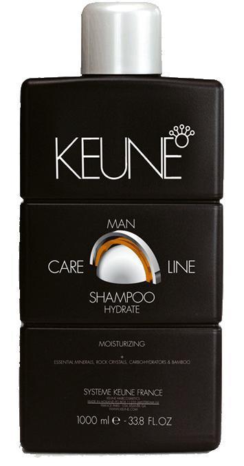KEUNE Шампунь увлажняющий Кэе Лайн Мен / CL HYDRATE SHAMPOO 1000млТело<br>Шампунь увлажняющий разработан специалистами голландской компании Keune для интенсивного ухода за сухими и поврежденными волосами. Входящий в состав шампуня экстракт бамбука обладает превосходными регенерирующими свойствами, глубоко питает волосы. Горный хрусталь оказывает укрепляющее действие. Природные минералы интенсивно питают волосы и кожу головы, а также сглаживают кутикулу волоса. Карбо-гидраторы способствуют восстановлению влажностного баланса. Регулярное использование увлажняющего шампуня от Keune наполнит ваши волосы живительной влагой, сделает их более сильными, упругими и блестящими. Активный состав: Природные минералы, экстракт бамбука, горный хрусталь, карбо-гидраторы. Применение: Нанесите необходимое количество увлажняющего шампуня на влажные волосы, вспеньте, помассируйте в течение 1-2 минут, после чего тщательно смойте водой.<br><br>Объем: 1000