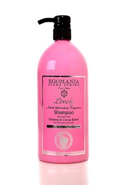 EGOMANIA Шампунь с женьшенем и маслом какао для нормальных и сухих волос / LOVELY 1000млШампуни<br>Шампунь с Женьшенем и маслом Какао предназначен для очищения нормальных и сухих волос. Придает тонус и питает волосы, не раздражает кожу головы, позволяет сохранить цвет волос. В результате блестящие, мягкие волосы, с необходимым увлажнением. Активные ингредиенты: Мускус, масла аргана, какао, сладкого миндаля, экстракт женьшеня, граната, грязь Мертвого моря. Способ применения: Шампунь наносят на влажные волосы, вспенивают и смывают теплой водой.<br>