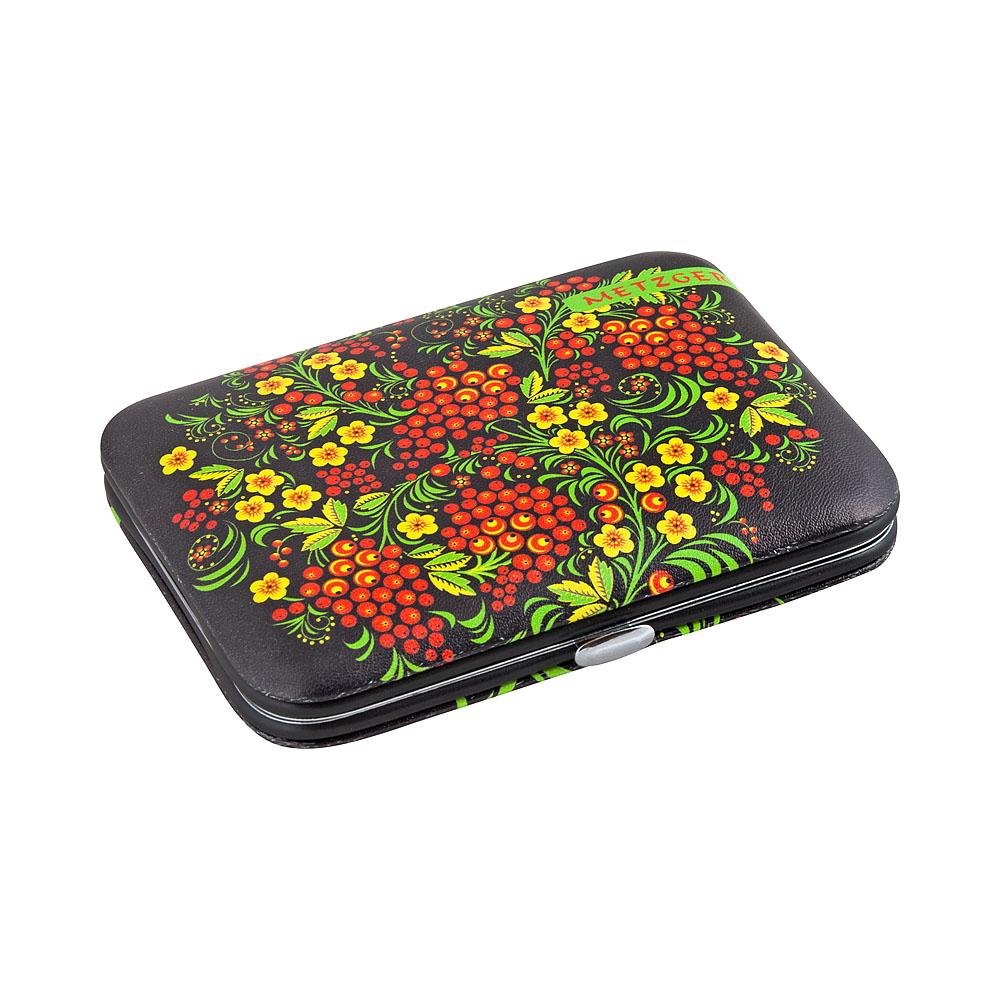 METZGER Набор маникюрный Черный с красными ягодами MS-2957(6)-BIG, 7 предметов