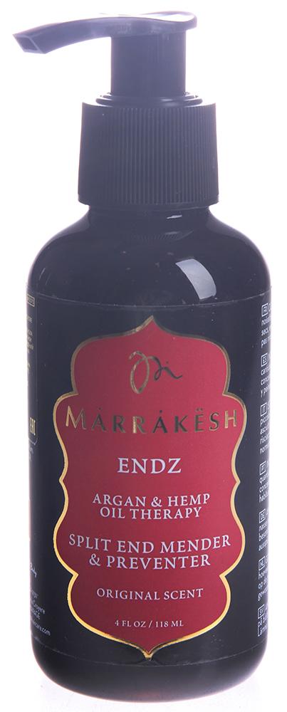 MARRAKESH Крем для секущихся кончиков волос / Marrakesh Endz 118 млКремы<br>Основные преимущества: &amp;nbsp; - Запечатывает и восстанавливает сеченые кончики.&amp;nbsp; - Укрепляет волосы и препятствует повреждению волос.&amp;nbsp; - Утолщает кончики волос.&amp;nbsp; - Делает волосы более послушными.&amp;nbsp; - Можно использовать на окрашенные волосах. - Масла Конопли и Арганы заметно улучшают качество волос и их текстуру.&amp;nbsp; - Протеины пшеницы укрепляют, восстанавливают волос и препятствуют ухудшению состояния волос.&amp;nbsp; - Пантенол увлажняет волосы, делает кончики волос толще.&amp;nbsp; Способ применения: нанесите небольшое количество на влажные или сухие кончики волос. Не смывайте, завершите укладку как обычно.<br><br>Объем: 118 мл<br>Назначение: Секущиеся кончики