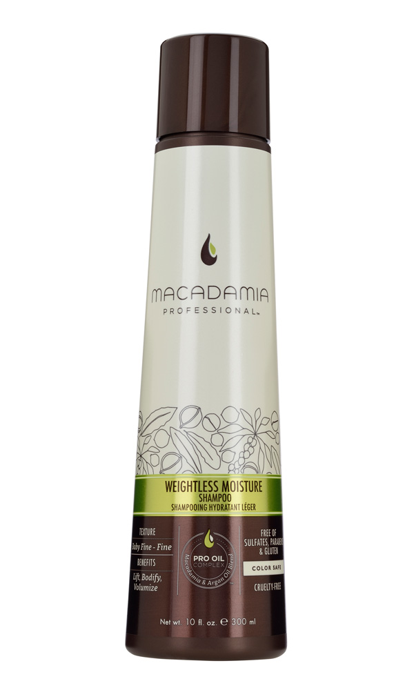 MACADAMIA PROFESSIONAL Шампунь увлажняющий для тонких волос / Weightless Moisture shampoo 100млШампуни<br>Увлажняющий шампунь Macadamia Professional восстанавливает баланс влаги, придает плотность и объем даже самым тонким волосам. Содержит эксклюзивный PRO OIL COMPLEX с маслами макадамии и арганы, масла авокадо и лесного ореха, которые обеспечивают увлажнение и восстановление, увеличивают плотность тонких волос, питают кожу головы. Содержит UVA/UVB фильтры, сохраняет цвет окрашенных волос. Защищает от воздействия неблагоприятных факторов окружающей среды. Преимущества: Уплотнение и объем Невесомое увлажнение и укрепление Сохранение цвета окрашенных волос&amp;nbsp; Без сульфатов, парабенов и глютена Активные ингредиенты: Масло макадамии, Омега 7, 5 и 3 жирные кислоты обеспечивают увлажнение Масло арганы, Омега 9 жирные кислоты восстанавливают и укрепляют Масло авокадо питает волосы и кожу головы Масло грецкого ореха - питает волосы и кожу головы. Состав: Вода, У14-16 Олефин сульфонат натрия, Кокамидопропил Бетаин, Кокамид МоноЭтанолАмин, Изетионат натрия, Гликоль стеарат, отдушка,Масло макадамии, Аргановое масло, Масло Авокадо, Масло грецкого ореха, Гель Алоэ вера, Глицерин, Пантенол, Растворимый коллаген, Фосфолипиды, Ацетат Витамина Е, Ретинил пальмитат (витамин А), Аскорбил пальмитат, Натрия глицинат кокоил, Диоксид титана, Мика, Гуар гидроксипропилтримониум хлорид, ППГ-2 гидроксиетил коко/изостеарамид, Дисодиум ЕДТА, Кополимер гидролизованного белка пшеницы, Феноксиэтанол, Метилхлороизотиазолин, метилизотиазолинон, Лимонная кислота, Кватерниум-95, Пропандиол, Бензил Салицилат, Бутилфенил Метилпропионал, Гексил Циннамал, Линалоол Способ применения: нанесите небольшое количество шампуня на влажные волосы, вспеньте, распределите массажными движениями. Смойте. При необходимости, повторите.<br><br>Вид средства для волос: Увлажняющий