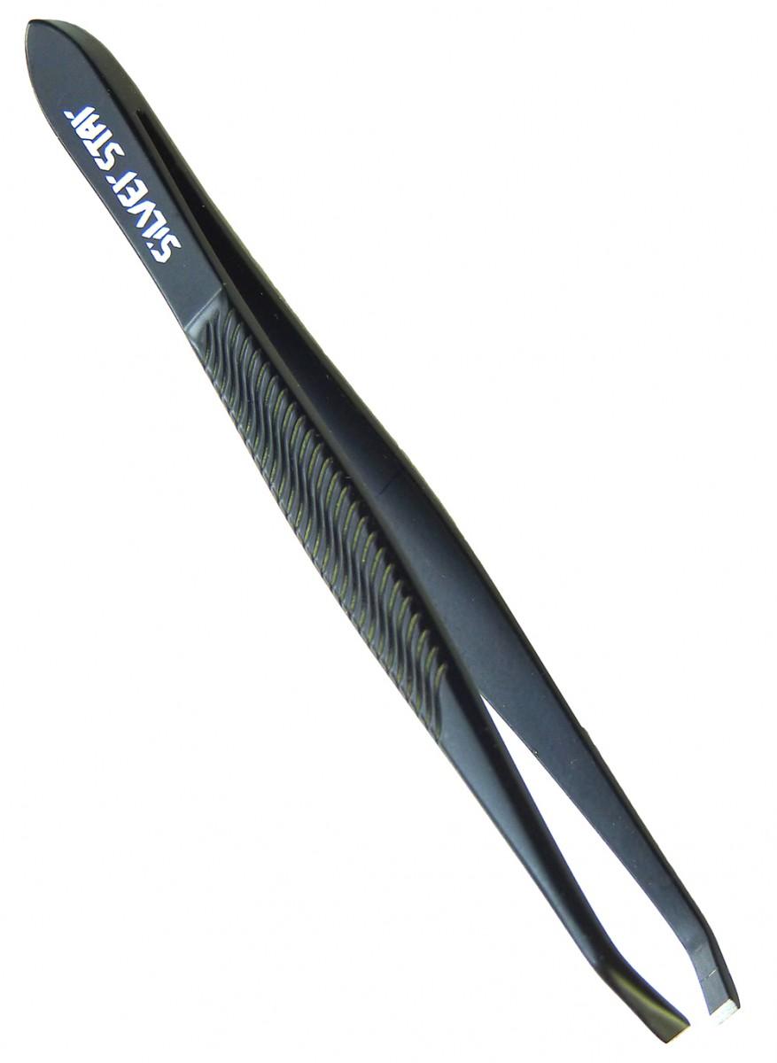 SILVER STAR Пинцет прямой черный / CLASSIC