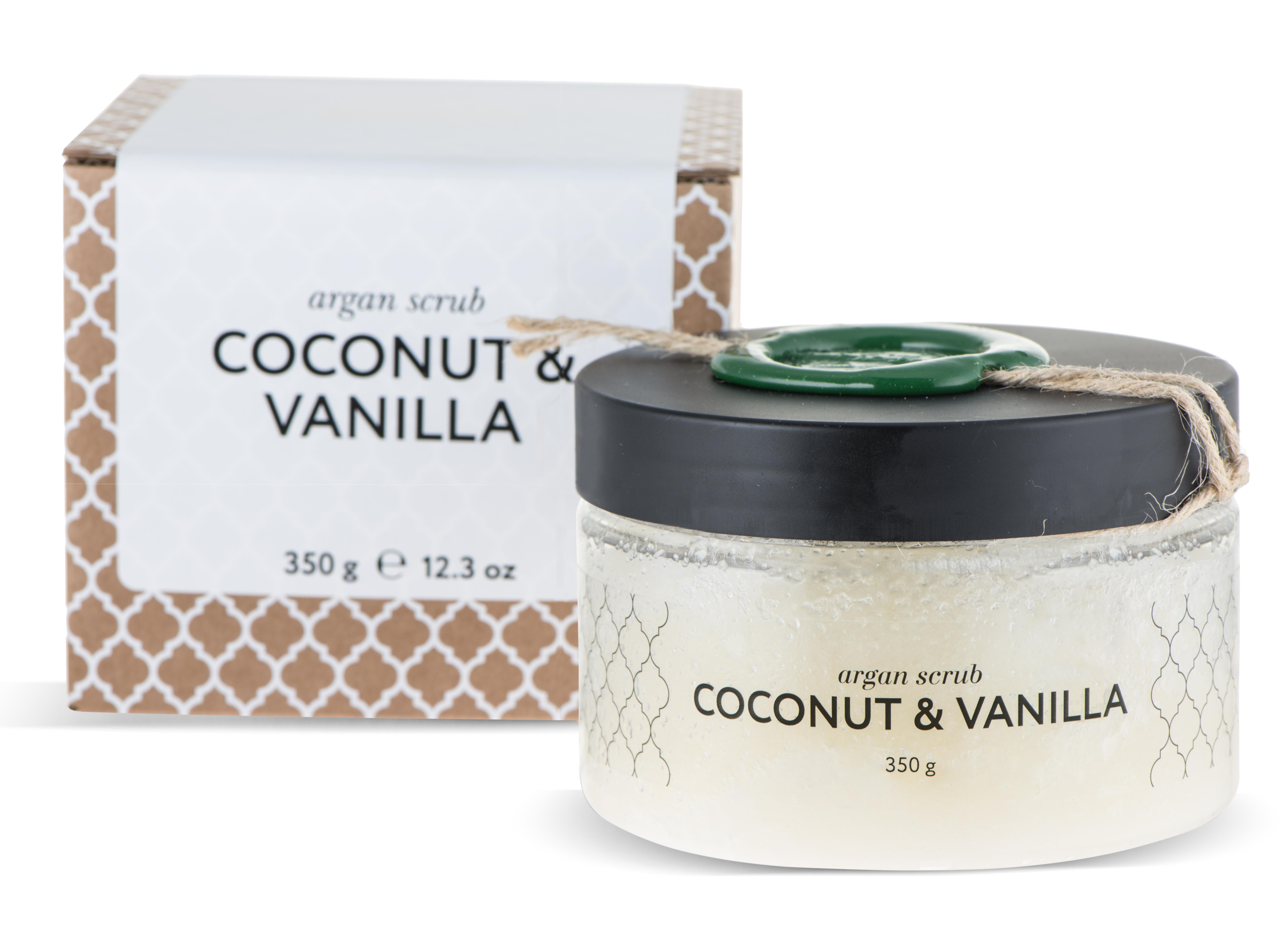 HUILARGAN Скраб аргановый солевой для тела, кокос-ваниль 350 г