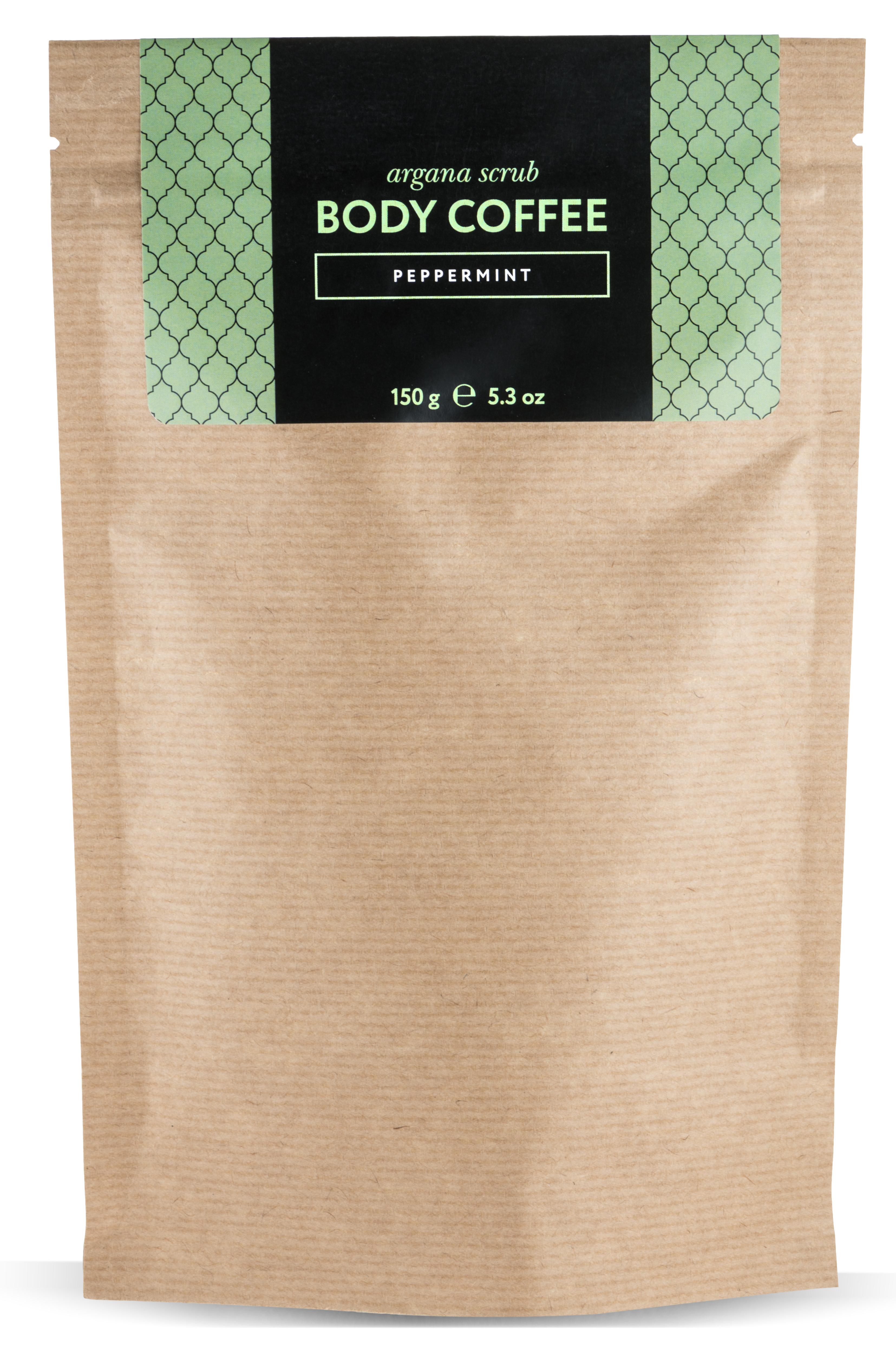 HUILARGAN Скраб аргановый кофейный для тела, мята 150 г