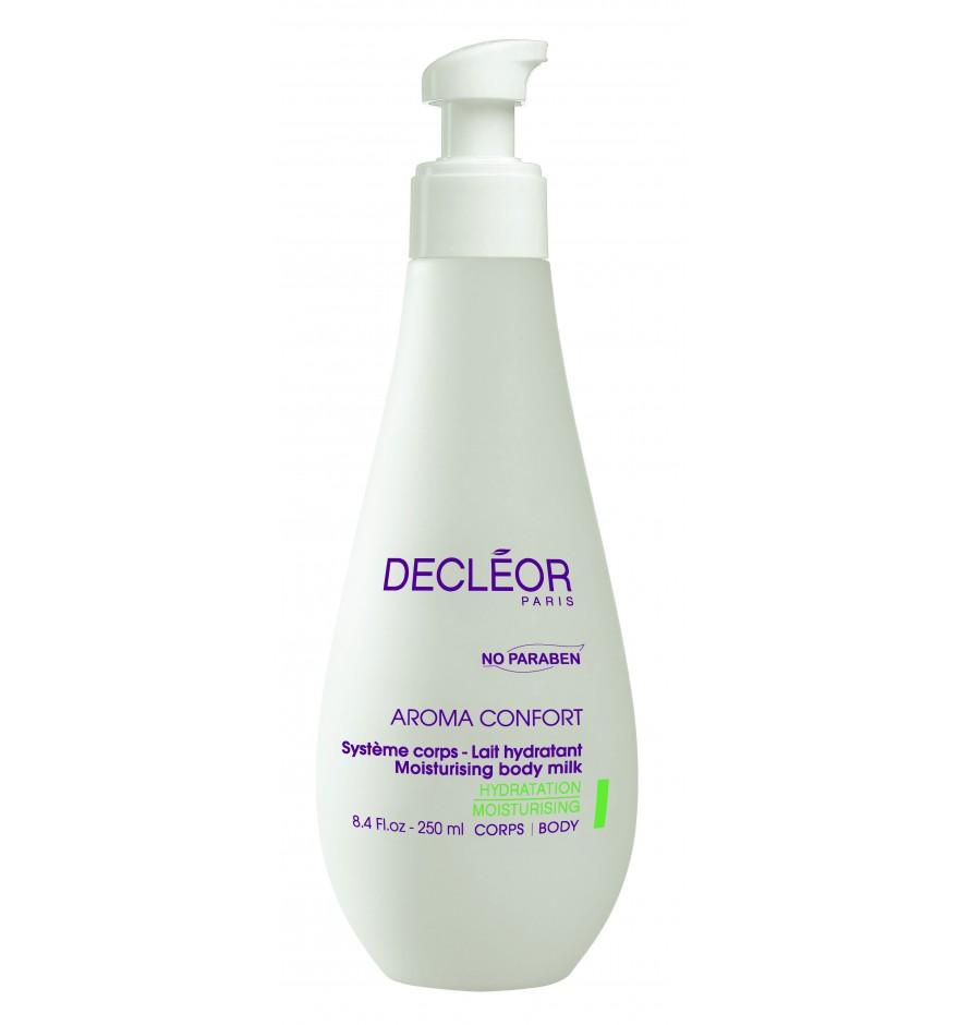 DECLEOR Молочко увлажняющее для тела / AROMA CONFORT 250млЭмульсии<br>Молочко с легкой кремовой текстурой увлажняет, питает и смягчает кожу; разглаживает, укрепляет, повышает ее эластичность и упругость. Молочко успокаивает и защищает кожу от свободных радикалов и агрессивных внешних факторов. Кожа идеально увлажнена, она гладкая, нежная и шелковистая, ее естественные защитные функции восстановлены. Способ применения: нанесите на все тело после душа. Используется 1   2 раза в день.<br><br>Вид средства для тела: Увлажняющий