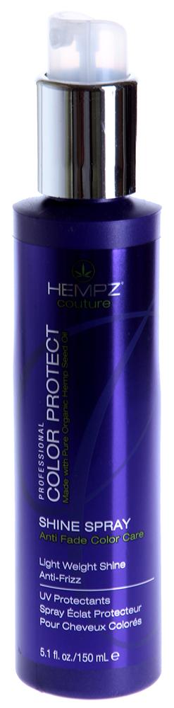 HEMPZ Спрей для блеска Защита цвета / Color Protect Shine Spray 150млСпреи<br>Воздействие негативных факторов окружающей среды способно сделать окрашенные волосы тусклыми и безжизненными. Сохранить их цвет и здоровье поможет Спрей для блеска &amp;ndash; Защита цвета Hempz. Он мгновенно придает волосам глянцевый блеск. Благодаря содержанию масла семян конопли, Color Protect Shine Spray от Хемпс не просто придает волосам красивый внешний вид, но и питает их изнутри. Он также станет необходимым помощником в увлажнении выцвевших и тусклых волос. Спрей защищает окрашенные волосы от пересушивания во время укладки и от негативного влияния ультрафиолетовых лучей. Результат. Использование Color Protect Shine Spray от Hempz поможет сохранить ваши волосы красивыми и здоровыми, придаст им глянцевое сияние.  Активные ингредиенты: Масло и экстракт семян конопли.  Способ применения: Используйте Спрей для блеска - защита цвета Hempz в качестве завершающего этапа укладки. Равномерно распылите средство по всей длине волос. Также вы можете использовать Спрей в качестве дополнительной защиты во время завивки волос и выпрямлении прядей парикмахерскими щипцами.<br>