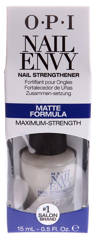 OPI Средство матовая формула / Nail Envy Matte 15млЛечебные средства<br>Придает ногтям естественный блеск, ровную поверхность, благодаря кератину, кальцию и протеинам пшеницы. Коллекция Нэйл Энви обогащает ногти витамином Е, благодаря содержащемуся в ней витаминному комплексу. Препарат обеспечивает твердость и прочность ногтям, эффективно покрывает ногтевую пластину, образуя на ней надежное и стойкое покрытие, формирует длинные и прочные ногти всего за две недели. Эксклюзивная технология улучшает состояние ногтей, способствует их росту, сохранению прочности. Активные ингредиенты: Основа, кальций, витамин Е, гидролизованный протеин пшеницы, кератин, аминокислоты. Способ применения: Покрытие для ногтей предназначено для комплексного ухода за их состоянием в течение двух недель для женского и мужского маникюра. Можно использовать как базовое покрытие под лак, в салонах и самостоятельно, в домашних условиях. Используется на протяжении двух недель. Через день наносить на очищенную поверхность ногтей. В дальнейшем, для закрепления результата можно использовать как базовое покрытие под лак.<br>