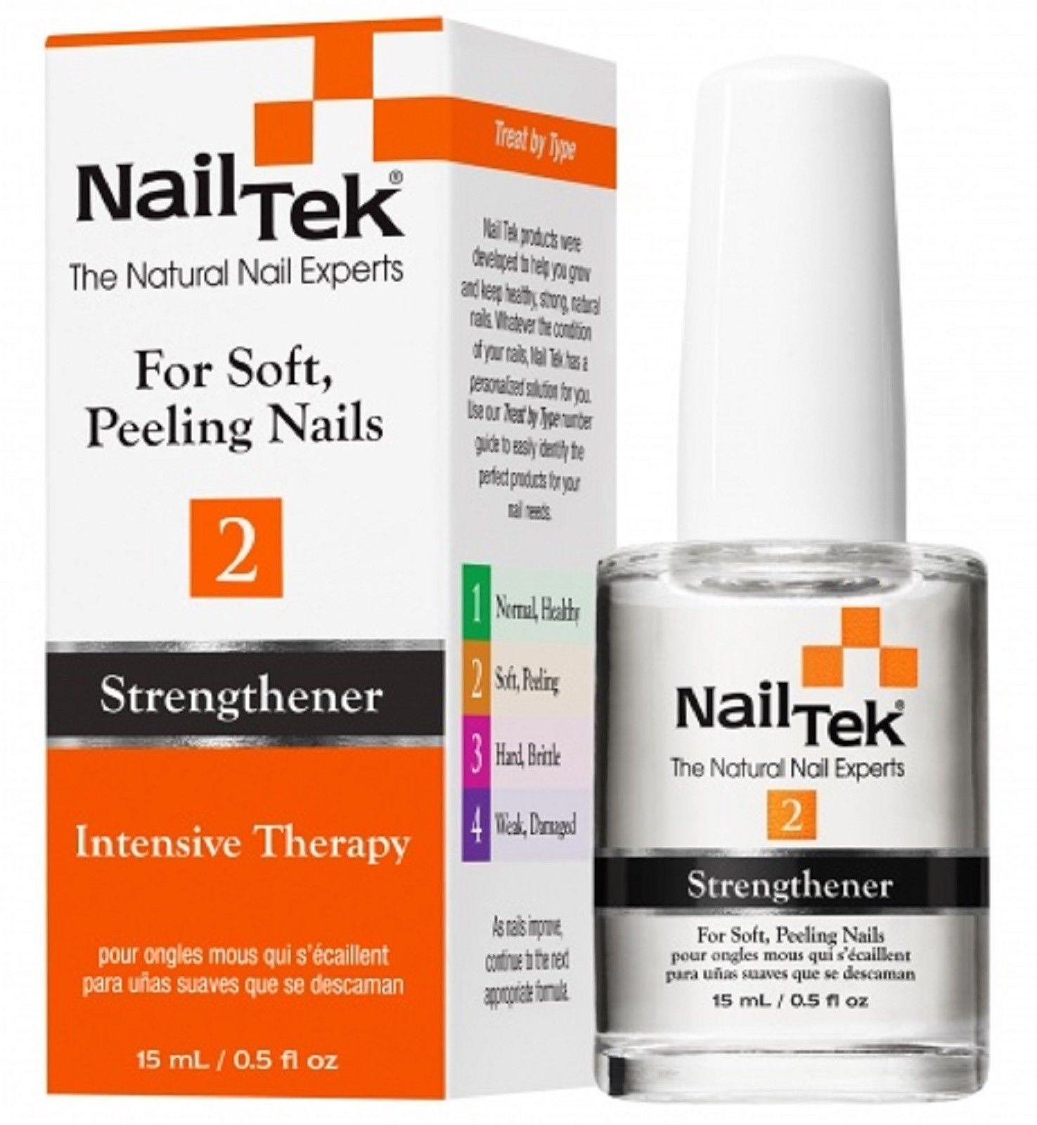 NAIL TEK Укрепитель и усилитель роста для мягких, слоящихся ногтей / THERAPY 2 15млЛечебные средства<br>NailTek THERAPY 2 - протеиновый состав с минералами, в том числе пантотенатом кальция, который при систематическом покрытии на ногти заметно укрепляет ногтевую пластину, препятствует ее расслоению и обеспечивает ее здоровый рост. Способ применения: 1. Придайте ногтям желаемую форму. 2. Для усиления эффекта и лучшего проникновения рекомендуется нанести NailTek FOUNDATION 2 - базовое выравнивающее покрытие для мягких, слоящихся ногтей. 3. Нанесите 2 слоя лака для ногтей. 4. Нанесите поверх верхнее покрытие NailTek THERAPY 2 - укрепитель и усилитель роста для мягких, слоящихся ногтей. Далее каждый день наносите новый слой NailTek THERAPY 2 в качестве верхнего покрытия. Через неделю снимите все покрытия жидкостью без ацетона и повторите процедуру (недельный цикл). Период применения: смена покрытия каждые 7 дней, длительность курса   8 недель.<br><br>Объем: 15 мл