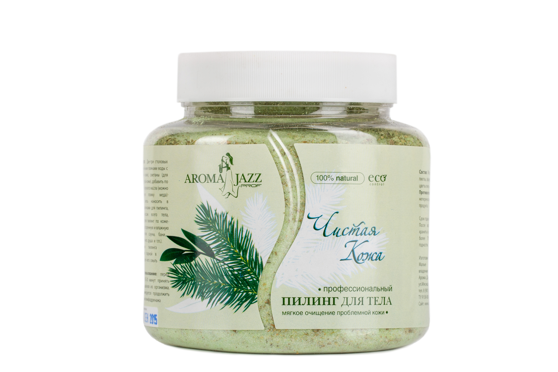 AROMA JAZZ Пилинг для тела Чистая кожа 700млСкрабы<br>Профессиональный сухой пилинг для тела. Мягкое очищение проблемной кожи.&amp;nbsp;Снижает склонность к простудным заболеваниям, открывает поры, выводит шлаки, чистит сосуды, оздоравливает клетки кожи, нормализует работу сальных желез при жирной коже. Использование пилинга благотворно сказывается на общем состоянии кожного покрова: пропадают ощущения сухости и стянутости, надолго уступая место естественной свежести и мягкости. Активные ингредиенты: абразивная йодировано-минеральная соль, насыщенная экстрактом пихты, эфирное масло пихты, кукурузная мука, цветы ромашки. Способ применения: две-три столовых ложки пилинга смешать с двумя столовыми ложками сметаны, добавить несколько капель эфирного масла (можно добавить одну чайную ложку меда). Свежеприготовленную смесь нанести на распаренную влажную кожу (после принятия сауны, бани, кедровой бочки и т.д.) рукавичками для пилинга. Провести легкий массаж всего тела в течение 5-7 минут, равномерно распределяя пилинг по поверхности кожи. После проведения пилинга возможно посещение парной в течение 3-5 минут, затем без помощи мыла смыть состав. Противопоказания: аллергическая реакция на составляющие компоненты.<br><br>Объем: 700 мл