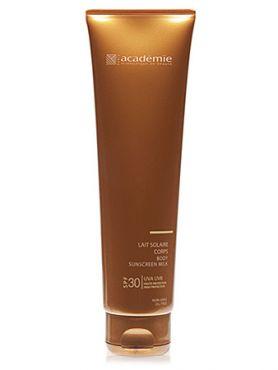 ACADEMIE Молочко солнцезащитное для тела SPF30 / BRONZECRAN 150млМолочко<br>Молочко имеет фактор защиты SPF 30. Обладает легкой консистенцией и не оставляет следов на коже после впитывания. Прекрасно защищает кожу от негативного воздействия ультрафиолета, увлажняет и смягчает, даря ощущение комфорта. Результат: Увлажненная и бархатная кожа, которая защищена от UVA и UVB излучения. Активные ингредиенты: увлажняющие компоненты растительного происхождения 1%,&amp;nbsp;успокаивающий активный ингредиент 0.5%,&amp;nbsp;витамин Е 0.1%,&amp;nbsp;гиалуроновая кислота 0.02%,&amp;nbsp;защитные компоненты 0.001%. Способ применения:&amp;nbsp;нанести молочко перед процедурой загара на кожу тела. Рекомендуется избегать воздействия ультрафиолета в часы максимальной активности солнца.<br><br>Защита от солнца: None