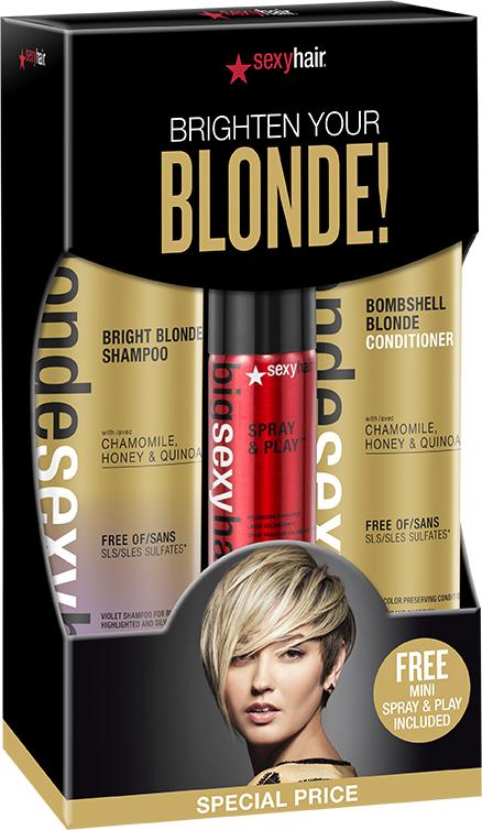 цены SEXY HAIR Набор (шампунь для сохранения цвета блонд 300 мл + кондиционер для сохранения цвета блонд 300 мл + спрей для создания объема 50 мл)