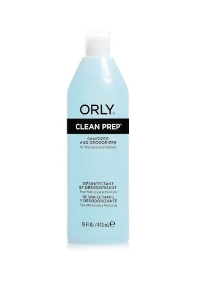 ORLY Спрей очищающий / Clean Prep 480млДезинфицирующие средства<br>Препарат обеспечивает санитарную обработку и дезинфекцию рук, ног и ногтей. Clean Prep обезжиривает ногтевую пластину, что увеличивает сцепление лака с ногтем. Состав: ацетон, изопропил, вода, гидролизованный протеин пшеницы, лимонная кислота, отдушка, гераниол, линалоол, цитронелол, бензиловый спирт, гидроксицитронелал, бензил салицилат, бутилфенил метилпропионал, гексилциннамал. Способ применения: перед началом процедуры распылите спрей на руки. Нанесите небольшое количество Clean Prep на спонж и протрите ногтевую пластину перед нанесением базового покрытия. После дезинфекции рук с помощью средства Clean Prep вы можете воспользоваться любым покрытием, например, начать маникюр с нанесения праймера PrimeTime.<br><br>Класс косметики: Универсальная