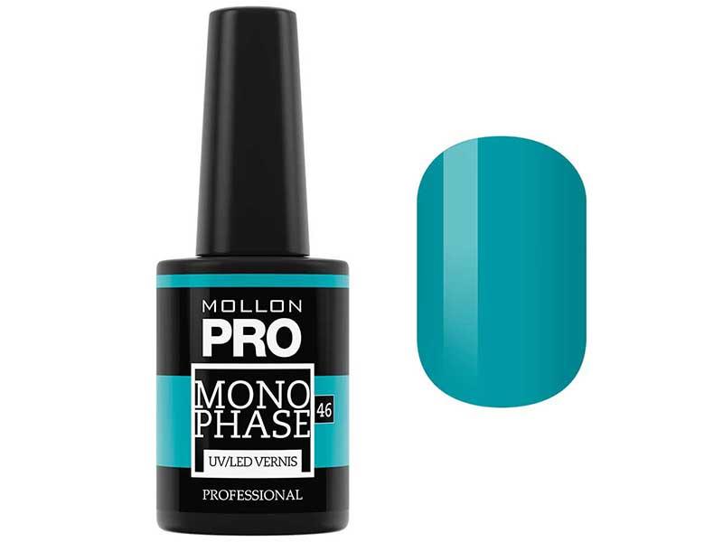 MOLLON PRO Лак для ногтей однофазный УФ/LED / Monophase Vernis   46 10млГель-лаки<br>Обеспечивает стойкое покрытие (7-10 дней) без использования базы и закрепителя. Предназначен для натуральной ногтевой пластины, а также для гелевых и акриловых ногтей. Дарит интенсивный цвет и натуральный вид при нанесении 2-х тонких слоев. Быстро сохнет в УФ или LED-лампе, не скалывается и не повреждается. Легко и быстро снимается без спиливания за 3 минуты. Свойства:   Консистенция классического лака для ногтей   Хорошая адгезия к ногтевой пластине   Стилизация с зеркальным блеском   Гладкие, натуальные и блестящие ногти   Устойчив к царапинам и стиранию   Быстро полемизируется в UV и LED лампах   Безопасный для ногтевой пластины   Не содержит вредных компонентов (формальдегид, толуол, дибутилфталата) - 3 Free   Темные цвета следует дольше полемизировать в лампе Способ нанесения:   Подпилите и придай ногтям форму. Удалите кутикулу препаратом Cuticle Remover Ultra Fast Gel при помощи деревянной палочки.   Деликатно сматируйте ногтевую пластину. Обезжирьте ногти препаратом Dehydrator   Нанесите тонкий слой лака для ногтей Monophase и полемизируйтe в лампе UV или LED, повторите нанесение и снова полемизируйте в лампе.   Время полемизации: Лампа UV (36Вт): первый слой 3 мин., второй слой 4 мин. Лампа LED (минимум 12 Вт): первый слой 1,5 мин., второй слой 3 мин. Лампы более высокой мощности сокращают время полемизации. Темные цвета полемизируются дольше Не смывать липкий слой после полимеризации. По окончанию нанесите 1 каплю Cucitle Oil на каждый ноготь и вмасируйте. Снятие:   Смочите ватный спонж в жидкости UV Remover, можете также использовать жидкость для снятия лака Nail Lacquer Remover hydrobalance   Оберните алюминиевой фольгой каждый ноготь и оставьте на 3 мин.   Деликатно удалите покрытие с помощью деревянной палочки.   Матирующей пилочкой Mollon PRO с градацией 320/500 деликатно сгладьте поверхность ногтя.   Протрите ноготь спонжем, смоченным в жидкости, чтобы удалить остатки