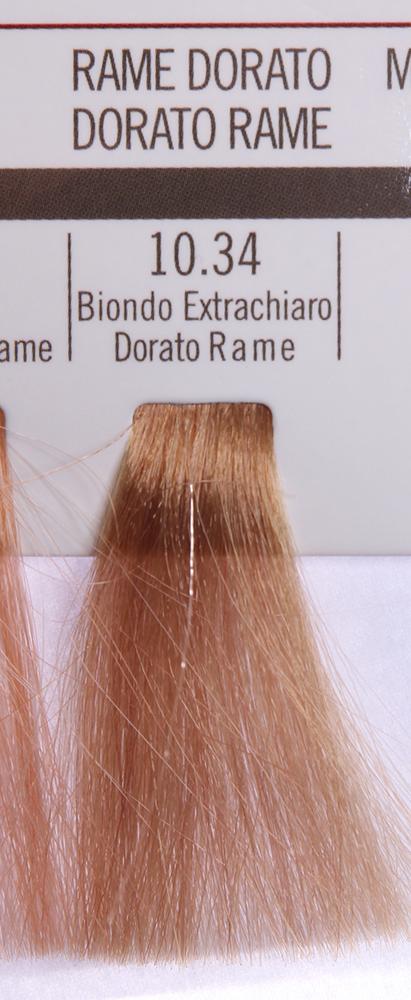 BAREX 10.34 краска для волос / PERMESSE 100млКраски<br>Оттенок: Экстра светлый блондин золотисто-медный. Профессиональная крем-краска Permesse отличается низким содержанием аммиака - от 1 до 1,5%. Обеспечивает блестящий и натуральный косметический цвет, 100% покрытие седых волос, идеальное осветление, стойкость и насыщенность цвета до следующего окрашивания. Комплекс сертифицированных органических пептидов M4, входящих в состав, действует с момента нанесения, увлажняя волосы, придавая им прочность и защиту. Пептиды избирательно оседают в самых поврежденных участках волоса, восстанавливая и защищая их. Масло карите оказывает смягчающее и успокаивающее действие. Комплекс пептидов и масло карите стимулируют проникновение пигментов вглубь структуры волоса, придавая им здоровый вид, блеск и долговечность косметическому цвету. Активные ингредиенты:&amp;nbsp;Сертифицированные органические пептиды М4 - пептиды овса, бразильского ореха, сои и пшеницы, объединенные в полифункциональный комплекс, придающий прочность окрашенным волосам, увлажняющий и защищающий их. Сертифицированное органическое масло карите (масло ши) - богато жирными кислотами, экстрагируется из ореха африканского дерева карите. Оказывает смягчающий и целебный эффект на кожу и волосы, широко применяется в косметической индустрии. Масло карите защищает волосы от неблагоприятного воздействия внешней среды, интенсивно увлажняет кожу и волосы, т.к. обладает высокой степенью абсорбции, не забивает поры. Способ применения:&amp;nbsp;Крем-краска готовится в смеси с Молочком-оксигентом Permesse 10/20/30/40 объемов в соотношении 1:1 (например, 50 мл крем-краски + 50 мл молочка-оксигента). Молочко-оксигент работает в сочетании с крем-краской и гарантирует идеальное проявление краски. Тюбик крем-краски Permesse содержит 100 мл продукта, количество, достаточное для 2 полных нанесений. Всегда надевайте подходящие специальные перчатки перед подготовкой и нанесением краски. Подготавливайте смесь крем-краски и молочка-оксиген