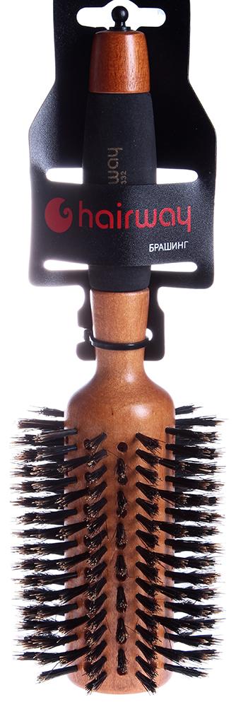 HAIRWAY Брашинг AERO на дер. основе с натур. щетиной 80мм-Брашинги<br>Брашинг на деревянной основе с натуральной щитиной и разделителем прядей. Продвинутая втулка Полимерная ручка.<br>