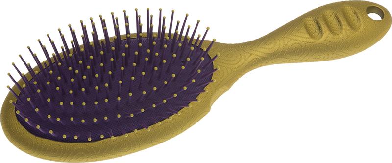 DEWAL BEAUTY Щетка Акварель массажная с нейлоновым штифтом, овальная, золотистая с фиолетовым