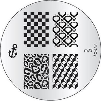 KONAD Форма печатная (диск с рисунками) / image plate M93 10грСтемпинг<br>Диск для стемпинга Конад М93 с 3D узорами из сердечек, шахматной доски и кубиков. Несколько видов изображений, с помощью которых вы сможете создать великолепные рисунки на ногтях, которые очень сложно создать вручную. Активные ингредиенты: сталь. Способ применения: нанесите специальный лак&amp;nbsp;на рисунок, снимите излишки скрайпером, перенесите рисунок сначала на штампик, а затем на ноготь и Ваш дизайн готов! Не переставайте удивлять себя и близких красотой и оригинальностью своего маникюра!<br>