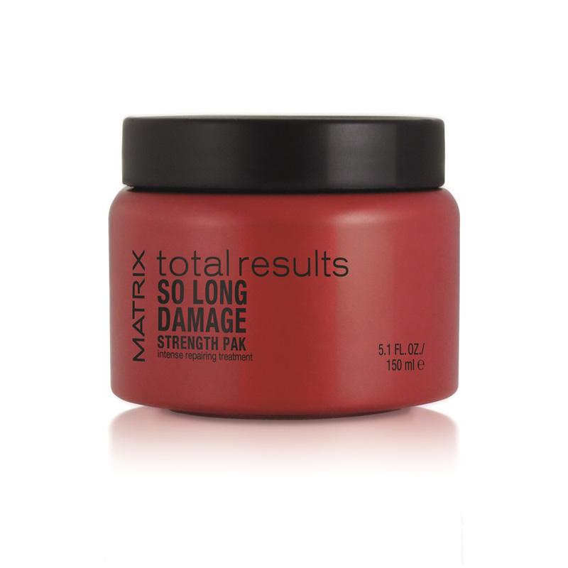 MATRIX Маска для восстановления волос / SO LONG DAMAGE 150млМаски<br>Strength Pak Intensive Treatment   это маска-уход от популярного бренда Матрикс, которая эффективно преображает поврежденные волосы. Уникальная технология Cuticle Rebond реализует возможность проникновения средства в глубину волоса, заполняя пустоты и разглаживая кутикулу. Специально подобранные сочетания из аминокислот и керамидов способствуют приданию волосам упругости и силы, блеска и эластичности, облегчают расчесывание. Способ применения: вымойте волосы. Нанесите маску. Через три минуты смойте. Желательно одно- или двукратное использование в неделю вместо кондиционера.<br><br>Объем: 150 мл