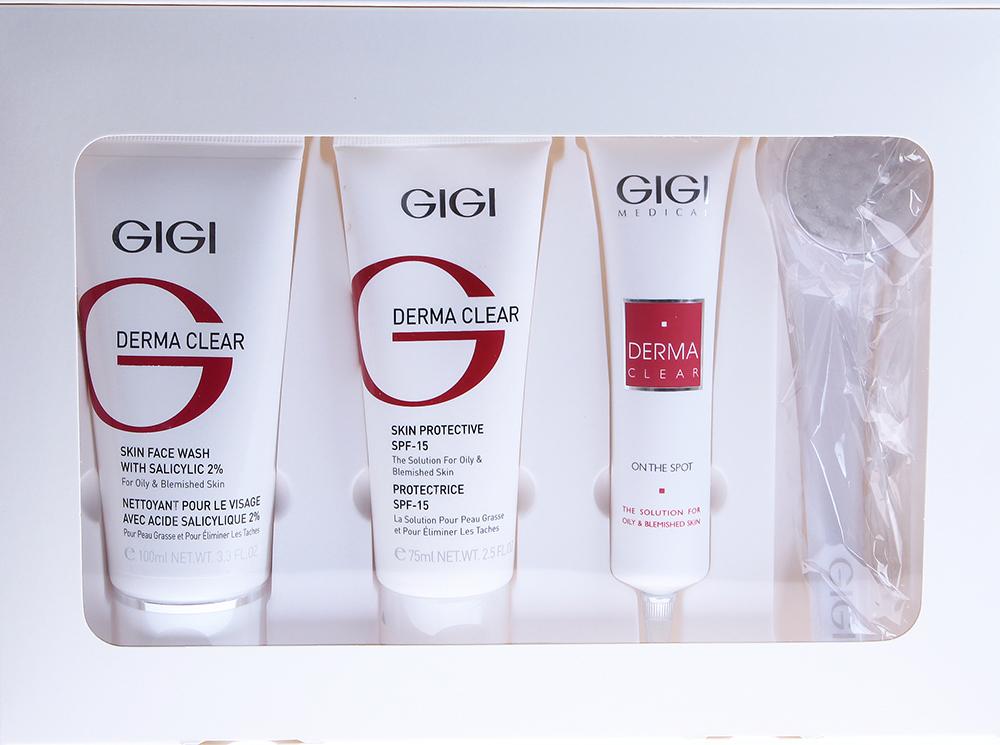 GIGI Набор для домашнего ухода (мусс, крем увлажняющий, гель, щеточка) / Kit DERMA CLEARНаборы<br>Набор для домашнего ухода DERMA CLEAR состоит из 4 средств: DERMA CLEAR Skin Face Wash - Мусс очищающий с 2% салициловой кислотой (100 мл). Легкий воздушный мусс эффективно и мягко очищает кожу, не нарушая рН и водно-липидный барьер кожи. Оказывает противовоспалительное, антимикробное и кератолитическое действие уже с этапа очищения и готовит кожу к равномерному и глубокому действию активных компонентов. Обладая себорегулирующим действием, придает коже матовость, снимает раздражение, заметно осветляет кожу, придает коже свежесть и гладкость. У мужчин может использоваться в качестве пены для бритья, которая оказывает противовоспалительное, антисептическое, заживляющее, успокаивающее и увлажняющее действие. Также замечательно подходит для людей с признаками фотостарения и гиперпигментации. DERMA CLEAR Skin Protective SPF-15 - Крем увлажняющий защитный SPF-15 (75 мл). Крем для ежедневного использования с выраженным противовоспалительным, антибактериальным действием. Препарат оказывает антиоксидантное действие, увлажняет и предотвращает развитие обезвоживания и появление пигментных пятен, защищает от повреждающих факторов окружающей среды. За счет своей насыщенной, но не жирной текстуры предотвращает повреждение кожи ультрафиолетовыми лучами А и В благодаря наличию физических и химических фильтров. Обязательный препарат для ежедневного ухода за жирной проблемной и пигментированной кожей в любое время года. DERMA CLEAR On The Spot - Гель для локальной обработки (40 мл). Гель для локальной обработки воспалительных высыпаний и пигментных пятен является средством скорой помощи, обладает антисептическим, противовоспалительным, кератолитическим, осветляющим, противомикробным и противовирусным действием. Ускоряет регенеративную способность кожи, предотвращает появление постакне. Гель прозрачный, не липкий и может использоваться несколько раз в день прямо поверх макияжа, до полного