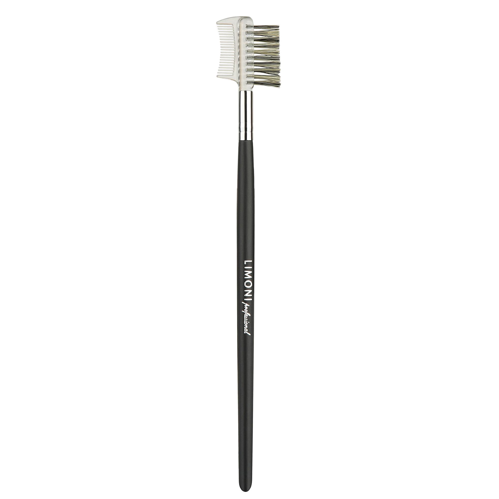 LIMONI Кисть расческа-щетка  23 / ProfessionalКисти<br>Расчёска   щётка поможет придать аккуратную форму ресницам и бровям, создавая более ухоженный вид. Расчёской можно разделить ресницы, удалив с них излишки туши, а щёточкой причесать брови, придать им более аккуратную форму и растушевать карандаш для естественного макияжа. Способ применения: расчешите ресницы стороной с расчёской. Для ухода за бровями   прочешите волоски и уложите в желаемую форму. Ворс: щетина Ручка: матовое дерево<br>