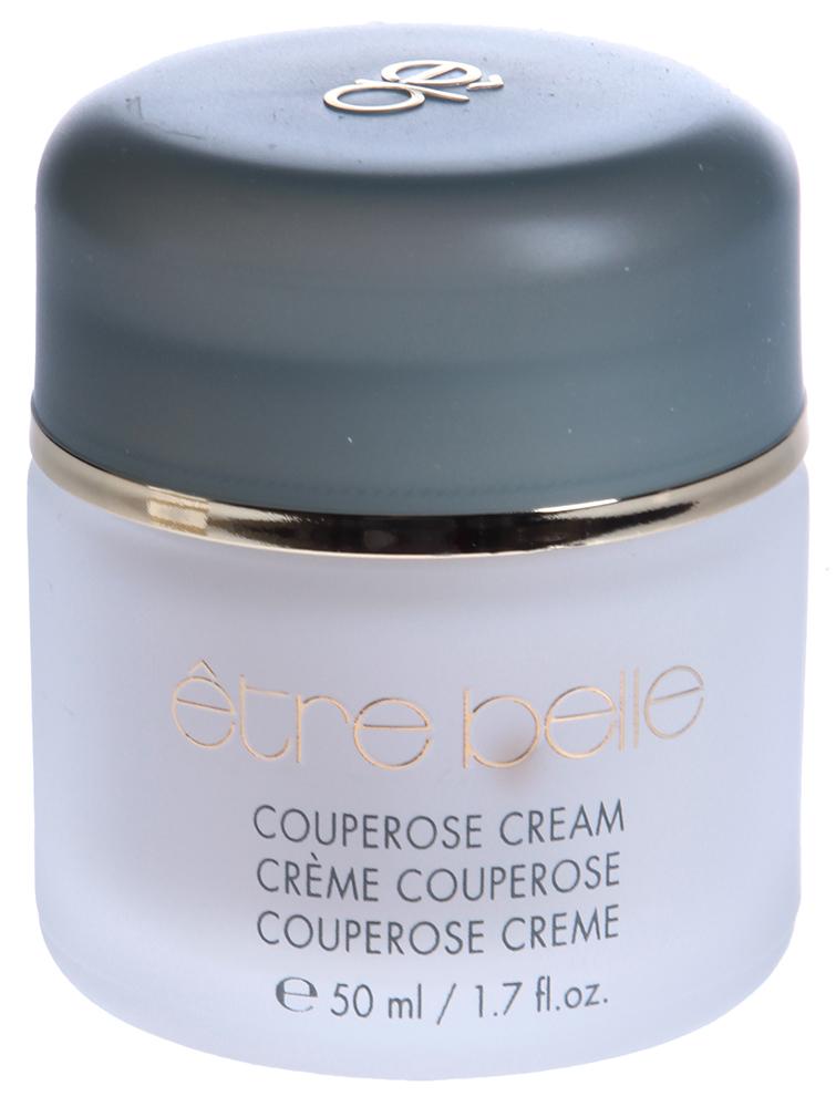 ETRE BELLE Крем для кожи с куперозом / Couperose Cream 50млКремы<br>Крем специально разработан для целевого ухода за чувствительной кожей, и кожей с куперозом. Комбинация активных растительных экстрактов, способствует укреплению стенок тонких капиллярных сосудов, оказывают увлажняющее и смягчающее действие. Арника, входящая в состав крема, способствует выведению шлаков, снимает покраснение кожи. Можно использовать во всех уходах. Показание: для чувствительной кожи и кожи с куперозом. Активные вещества: Экстракт арники, экстракт конского каштана, экстракт гаммамелиса, кстракт плюща, экстракт зверобоя, экстракт иглицы, гиалуроновая кислота, коллаген, витамин Е. Способ применения: Применяется нанесением небольшого количества крема на очищенную кожу лица.<br><br>Типы кожи: Чувствительная<br>Назначение: Купероз