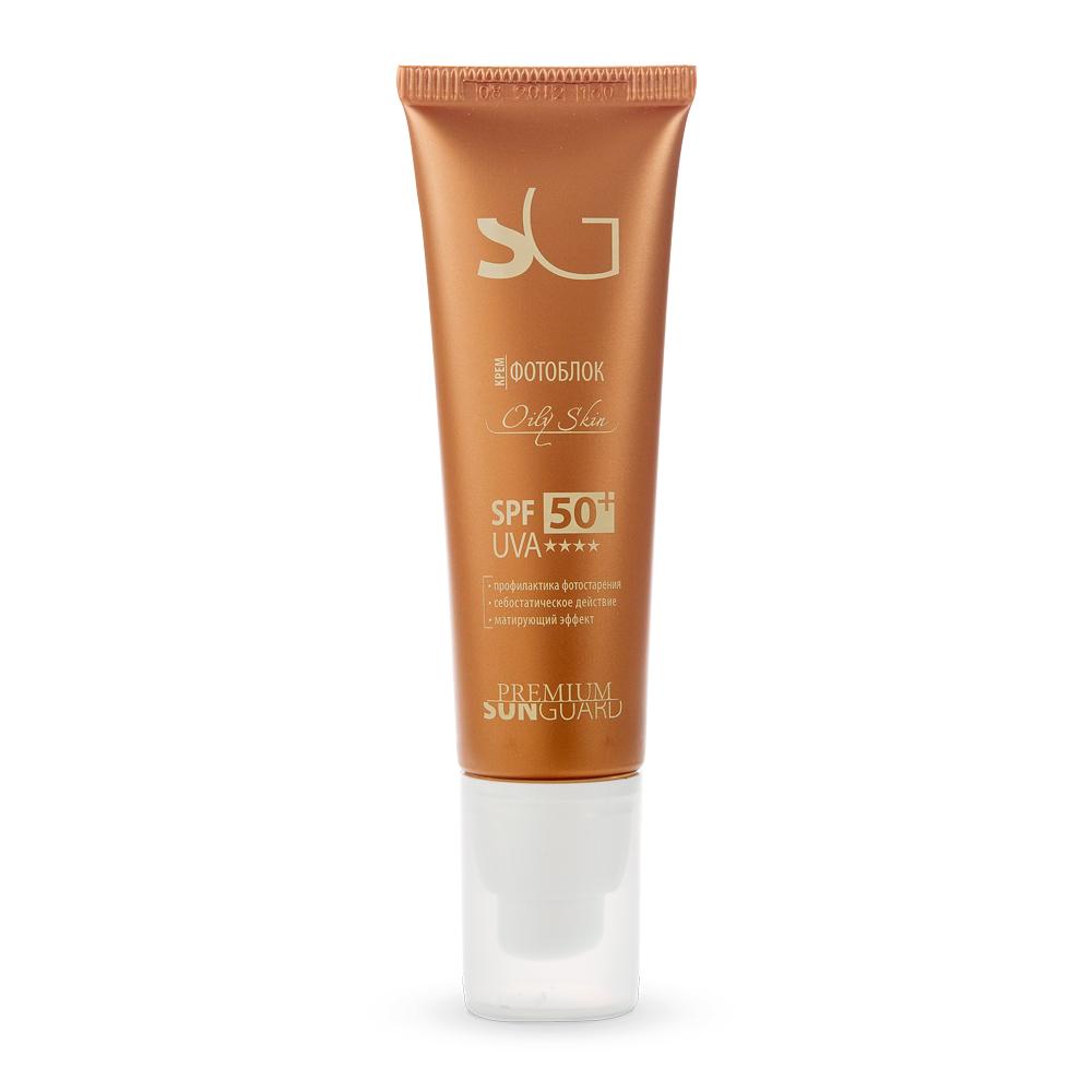 PREMIUM Крем фотоблок Оily Skin SPF50 / Sunguard 50млКремы<br>Эмульсия специально разработана с учетом особенностей жирной кожи, обладает себостатическим и успокаивающим действиями, некомедогенна, не оставляет жирной пленки. Рекомендована для защиты от УФО во время и после курса проведения отбеливающих процедур, пилингов (в том числе химических), лазерной эпиляции, пластических операций. Активные ингредиенты: UVA и UVB-фильтры, витамины А, Е, масло виноградной косточки, цинка пирролидонкарбоксилат, экстракт гамамелиса, кипрея. Способ применения:&amp;nbsp;при различных кожных заболеваниях, приеме фотосенсибилизирующих лекарств, противопоказаниях к УФ-лучам, при 1-м и частично 2-ом типе кожи с высоким содержанием феомеланина, а также после косметологических процедур. Равномерно нанести крем на лицо за 15 минут до выхода на улицу.<br><br>Вид средства для лица: Успокаивающий
