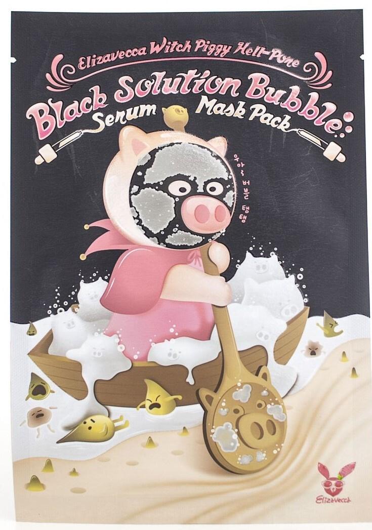 Купить ELIZAVECCA Маска тканевая для лица / Witch Piggy Hell-Pore Black Solution Bubble Serum Mask Pack 5 шт