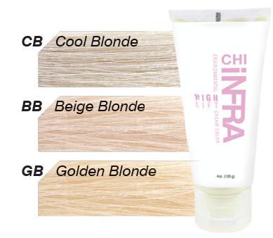 CHI CB краска для волос осветляющая / ЧИ ИНФРА 120грКраски<br>Крем-краска Чи Инфра CB (Холодный Блондин), палитры CHI Infra No Lift из серии CHI Infra BLOND, закрашивающая, не содержит аммиак и используется для полного окрашивания и мелирования волос. Крем-краска обеспечивает максимальное закрашивание, в один прием осветляет и тонирует волосы до 8 уровней. Краска обеспечивает получение нужного цвета на 100%. Используется для окрашивания волос с любого уровня, а также для ранее окрашенных волос. В основе краски - революционный комплекс от научного центра FAROUK SYSTEMS, придающий волосам здоровый, естественный блеск после окрашивания. Комплекс керамики CH44 обеспечивает высокую стойкость краски (до 5 недель) и потрясающий блеск. Наличие шелковых компонентов оздоравливает волосы, нейтрализует воздействие химических составляющих красителя, сокращает время сушки примерно на 50%. Результат. CHI Infra No Lift CB (Холодный Блондин) позволяет получить нужный цвет волос без нежелательных теплых оттенков, придает естественный блеск. Активный состав: Аквамариновый пигмент, красящие пигменты, оливковое масло, кератин. Применение: Крем-краска Чи Инфра смешивается с CHI Оксидом Генератором 10 VOL. Для завершения процедуры и закрепления цвета рекомендуется применять Кондиционер CHI Color Lock.<br><br>Цвет: Блонд