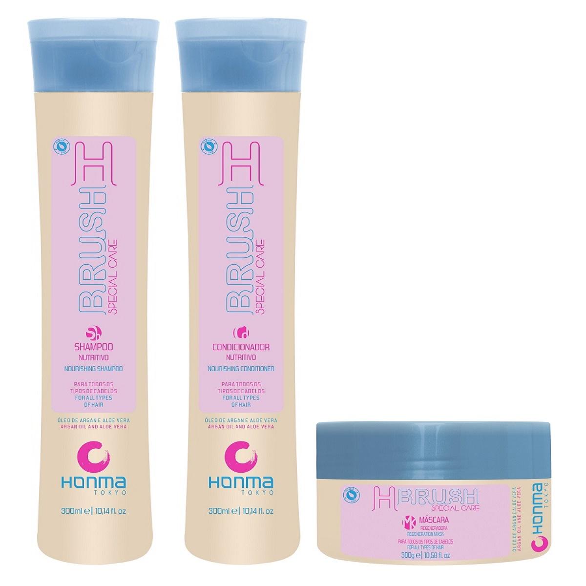 HONMA TOKYO Набор для продления эффекта гладкости волос ботокс для волос (шампунь 300 мл, кондиционер 300 мл, маска 300 мл) H-Brush Special Care - Наборы