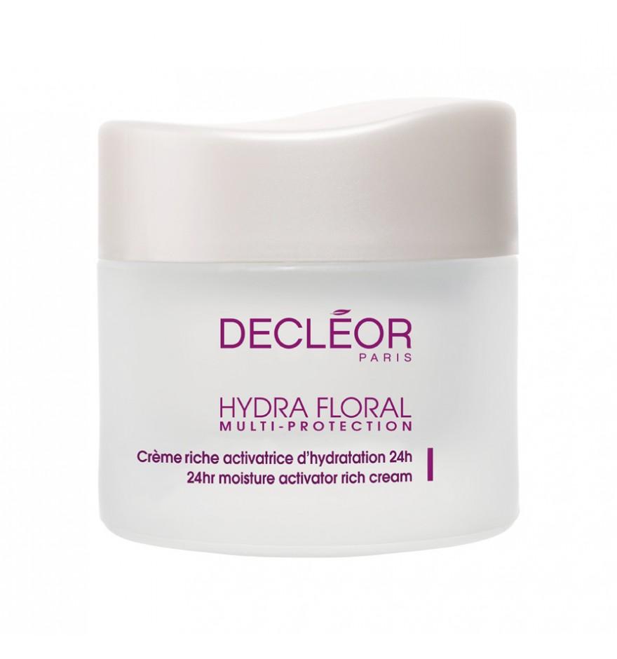 DECLEOR Крем рич Нероли / HYDRA FLORAL NEROLI 50млКремы<br>Крем обеспечивает интенсивное увлажнение, питание, и комплексную защиту кожи на 24 часа. Расслабляет и освежает кожу, смягчает и успокаивает, дарит ей чувство комфорта. Крем с нежным цветочным ароматом. Идеальное решение для сухой и обезвоженной кожи. Без парабенов, без минеральных масел. Decleor Hydra Floral Multi-Protection 24-hr Moisture Activator Rich Cream   насыщенный крем для увлажнения кожи. Средство регулирует гидрофитный баланс эпидермиса, тем самым восстанавливая его структуру. Кроме того, крем эффективно питает и тонизирует кожный покров, обеспечивая коже мягкость и сияние. Уже после первого использования крема ваше лицо заметно преобразится   оно приобретет превосходный свежий вид и замечательную гладкость кожи. Мультизащитный увлажняющий крем Деклеор оздоровит вашу кожу изнутри и надолго сохранит её красоту. Крем рекомендован для дам юного и зрелого возрастов. РЕЗУЛЬТАТ: интенсивно питает кожу, препятствует ее обезвоживанию, укрепляет естественную защиту кожи, дарит чувство комфорта и сияние. Крем насыщает кожу влагой. Кожа становится гладкой, нежной и свежей. Крем защищает кожу от вредного воздействия внешней среды и преждевременного старения. Активные ингредиенты: своим полезным и целебным свойствам крем Decleor Hydra Floral обязан природным ингредиентам: маслу шиповника, микропротеинам моринги и экстрактам фиалки, критмума и подсолнечника. Фиалка ускоряет синтез гиалуроната, благодаря чему укрепляет структуру и регенерирует клетки эпидермиса. Этот компонент также ускоряет выработку аквапорина, удерживая влагу в тканях кожи. В свою очередь критмум нормализует состояние липидного барьера кожи, предотвращая её обезвоживание. Моринга и подсолнечник очищают эпидермис от микрозагрязнений, излишков себума и не допускают образование свободных радикалов. Шиповник легко успокаивает кожу, возвращая ей состояние комфорта. Способ применения: нанесите утром на предварительно очищенную кожу лица и шеи посл
