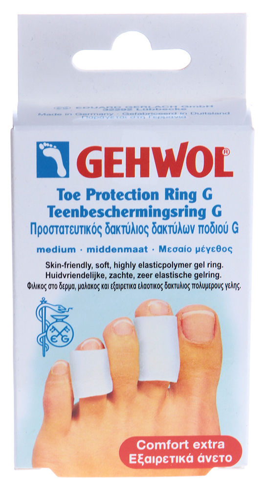 GEHWOL Гель-кольцо G 30мм, среднее 2штОртопедические приспособления<br>Эластичное полимерно-гелевое кольцо в трикотаже защищает чувствительные участки кожи между пальцев, а также натертые и проблемные места. Рекомендуется для защиты от образования мозолей и натертостей на коже из-за неправильного положения искривленных пальцев в обуви. Способ применения: Разместить между пальцами стоп в проблемных местах<br><br>Назначение: Мозоли