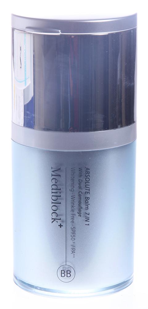 MEDIBLOСK Бальзам тонирующий 7 в 1 SPF 50+ 35млБальзамы<br>Многофункциональный ВВ крем. Благодаря уникальному составу и чётко сбалансированной формуле, препарат оказывает мощное омолаживающее, противовоспалительное, успокаивающее и регенерирующее действие. Защищает кожу от UV А и UV В лучей (SPF 50+) и препятствует потере влаги. Отлично выравнивает кожу визуально, подстраивается под ее тон, имеет очень лёгкую текстуру в виде эмульсии, придает коже натуральный тон   no make up look. Может использоваться в клиниках для пациентов после пластических операций и глубоких пилингов. Средство сертифицировано KFDA. Активные ингредиенты: диоксид титана, оксид цинка, гиалуроновая кислота, ВМВ комплекс, бета глюкан, витамин Е, ниацинамид (витамин В3), аденозин, аскорбил фосфат магния, гидроксид алюминия, стеариновая кис- лота, экстракт алоэ, ацетил гексапептид   8, рутин, азулен, экстракт центелы, сок алоэ. Способ применения: на предварительно очищенную кожу лица, шеи и зону декольте нанести небольшое количество крема, распределить лёгкими массажными движениями до полного впитывания.<br><br>Вид средства для лица: Восстанавливающий