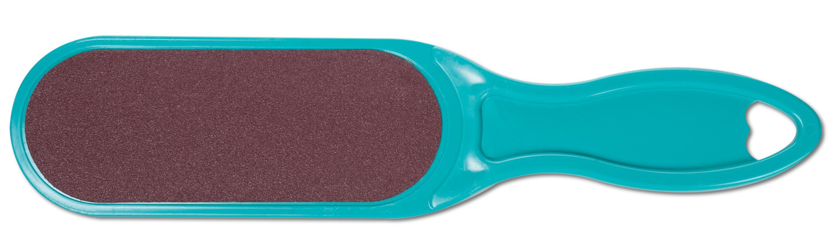 DOMIX Терка абразивная педикюрная двусторонняя с пластиковой ручкой, бирюзовый