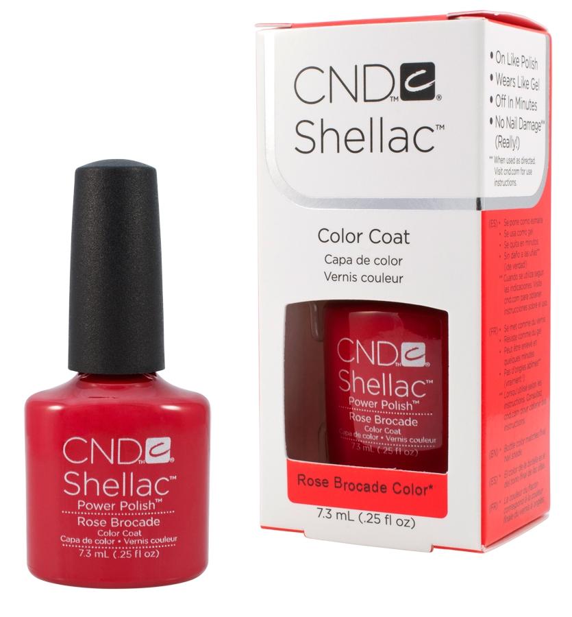 CND 90622 покрытие гелевое Rose Brocade / SHELLAC 7,3млГель-лаки<br>Shellac   первый гибрид лака и геля, сочетающий в себе самые лучшие свойства профессиональных лаков для ногтей (простота наложения, яркий блеск, богатство цвета) и современных моделирующих гелей (отсутствие запаха, носибельность, нестираемость). Носится как гель, выглядит как лак, снимается за считанные минуты, укрепляет и защищает ногти, гипоаллергенный, создан по формуле 3 FREE, не содержит дибутилфталата, толуола, формальдегида и его смол   все это Shellac! Преимущества: 14 дней   время носки маникюра2 минуты   время высыхания покрытияЗеркальный блеск и идеальная гладкость маникюраНе скалывается, не смазывается, не трескается Каждое покрытие представлено в непрозрачном флаконе, цвет которого абсолютно идентичен оттенку самого продукта. Флакон не скользит в руке, что делает процедуру невероятно легкой и приятной, а удобная кисточка позволяет нанести средство идеально ровно.<br><br>Цвет: Красные<br>Виды лака: Глянцевые