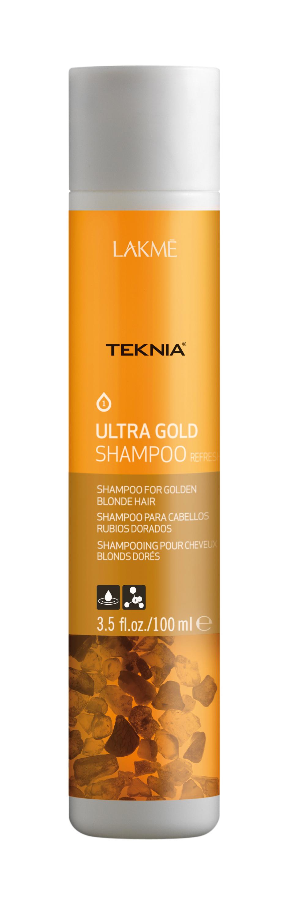Купить LAKME Шампунь для поддержания оттенка окрашенных волос, золотистый / ULTRA GOLD SHAMPOO 100 мл, Золотистый