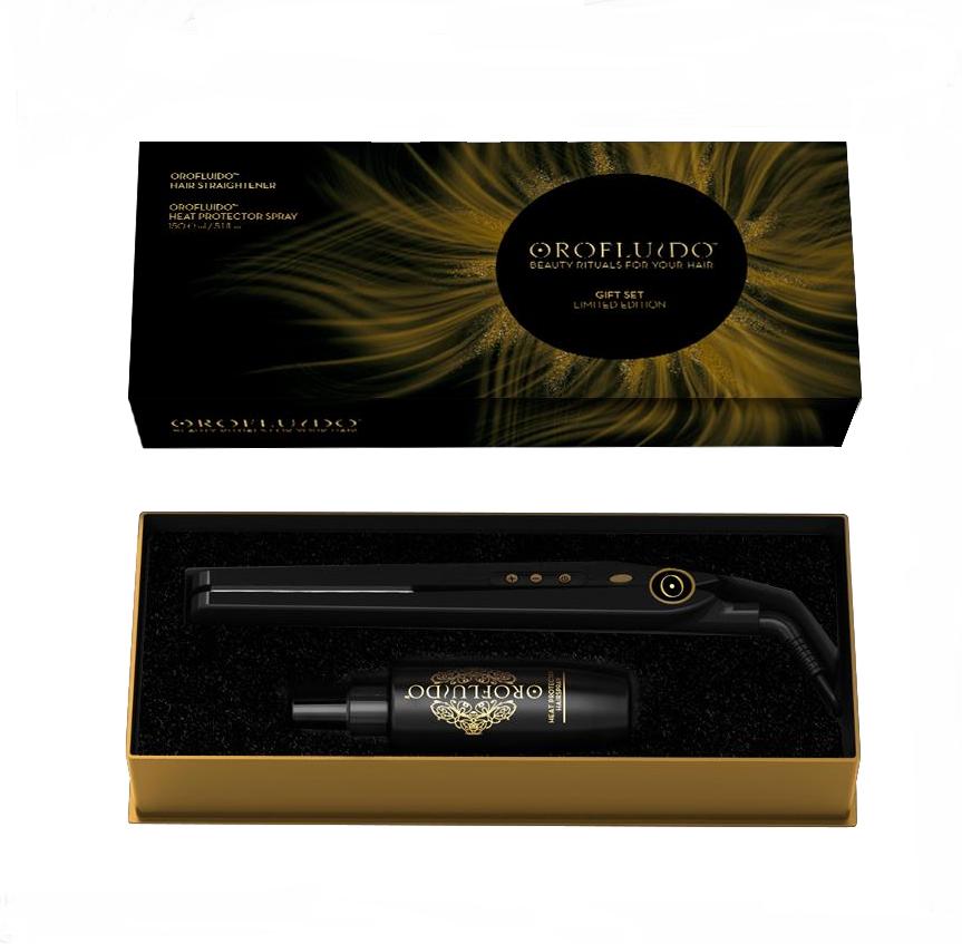 OROFLUIDO Набор подарочный (спрей термозащитный 150 мл + выпрямитель для волос)