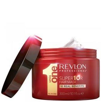 REVLON Супермаска / UNIQ ONE 300млМаски<br>Самая лучшая маска для волос во всем мире! Продукт, который предлагает 10 преимуществ, необходимых для Ваших волос. 10 реальных преимуществ только в 1 продукте, который позволит вам забыть о других масках для волос. 1. Восстановление глубоко поврежденных волос. 2. Интенсивное питание. 3. Укрепляет волосы от корней до кончиков. 4. Невероятный блеск. 5. Шелковистость и гладкость. 6. Сенсационное разглаживание и распутывание. 7. Ультра- увлажнение. 8. Быстро впитывается всего за 3 мин. 9. Придание натурального объема волосам. 10. Формула, которая не жирнит волосы. Способ применения: быстро впитывается, всего за 3 минуты. Распределить на влажные волосы. Оставить на 3 минуты и тщательно смыть. РЕЗУЛЬТАТ: легко смывается, восстанавливает и питает волосы, делая их мягкими и шелковистыми, предотвращая ломкость и секущиеся кончики.<br><br>Объем: 300 мл<br>Назначение: Секущиеся кончики