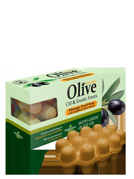 MADIS Мыло массажное с экзотическими фруктами для пилинга против целлюлита / HerbOlive 100 г