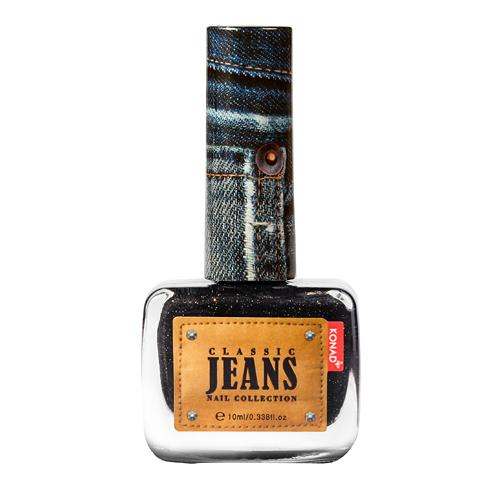 KONAD Лак для ногтей текстурный Nail 01 - Black Jeans / Classic Jeans 10млЛаки<br>Коллекция джинсовых лаков для ногтей Konad Jeans - это роскошные, настоящие джинсовые оттенки в красивом флаконе. Джинсовые лаки Konad стойкие и легкие в нанесении, уже в один слой вы можете получить плотное покрытие, имеют 3д эффект фактуры джинс! Эти лаки не требуют нанесения топа, а песочная текстура очень приятна на ощупь и не цепляет одежду. Эта необычная шелковистая поверхность с мелким глиттером - настоящие джинсы на ногтях! Способ применения: используется как регулярный лак, не для стемпинга! Для идеального эффекта необходимо нанести два слоя на базовое покрытие.<br><br>Цвет: Черные<br>Объем: 10 мл